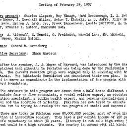 Minutes, 1957-02-19. Develo...