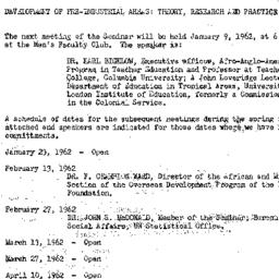 Announcements, 1962-01-17. ...