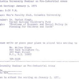 Announcements, 1971-01-05. ...