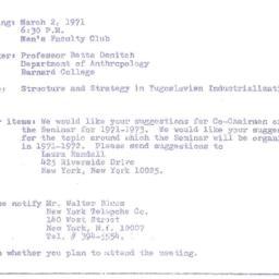 Announcements, 1971-03-02. ...