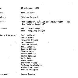 Minutes, 1972-02-29. Develo...