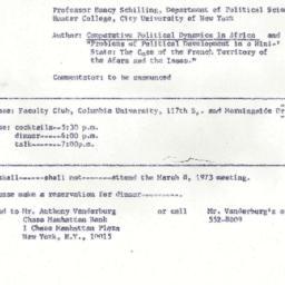 Announcements, 1973-03-08. ...