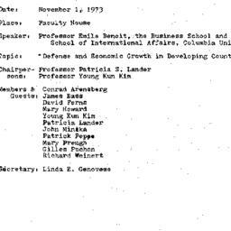 Minutes, 1973-11-01. Develo...