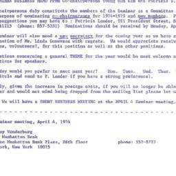 Announcements, 1974-04-04. ...