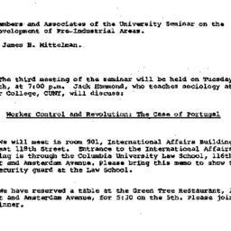 Announcements, 1981-05-05. ...