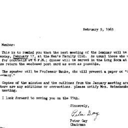 Announcements, 1965-02-05. ...