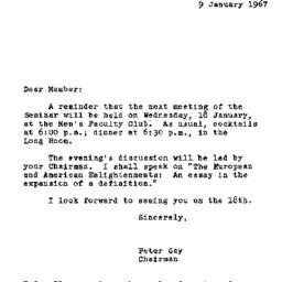 Announcements, 1967-01-09. ...