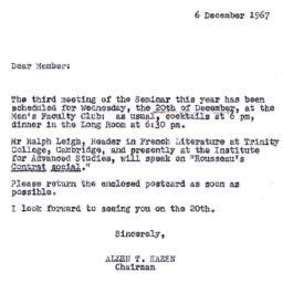 Announcements, 1967-12-06. ...