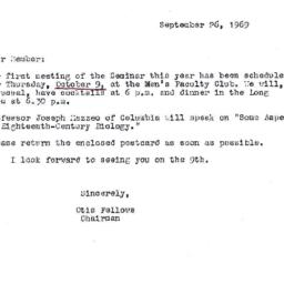 Announcements, 1969-09-26. ...