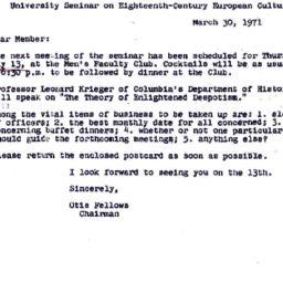 Announcements, 1971-03-30. ...