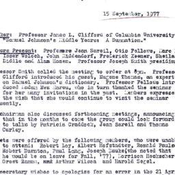 Minutes, 1977-09-15. Eighte...