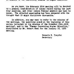 Announcements, 1960-02-29. ...