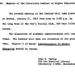 Announcements, 1963-01-21. ...