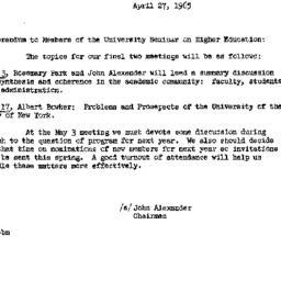 Announcements, 1965-04-27. ...