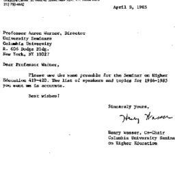 Correspondence, 1985-04-08....