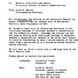 Announcements, 1964-01-31. ...
