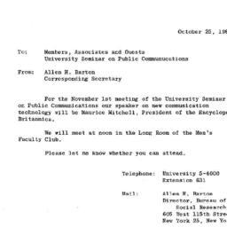 Announcements, 1963-10-25. ...