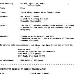 Announcements, 1967-04-21. ...