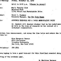 Announcements, 1969-12-12. ...
