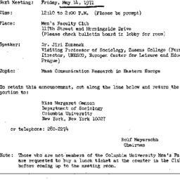 Announcements, 1971-05-14. ...