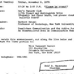 Announcements, 1970-11-06. ...