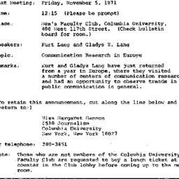 Announcements, 1971-11-05. ...