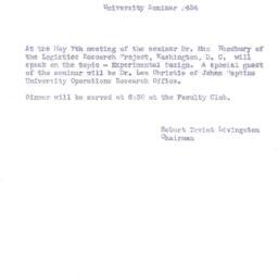 Announcements, 1956-05-07. ...