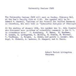 Announcements, 1958-02-03. ...