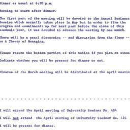Announcements, 1961-04-10. ...