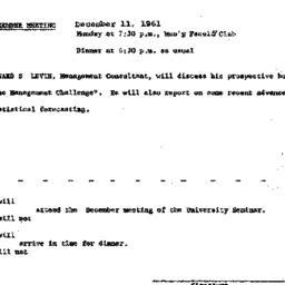 Announcements, 1961-12-11. ...