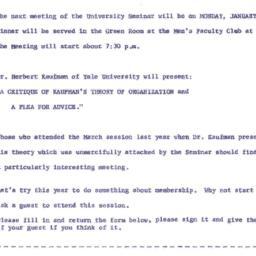 Announcements, 1962-01-08. ...