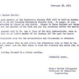 Announcements, 1963-02-28. ...