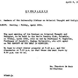 Announcements, 1964-04-10. ...