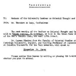 Announcements, 1965-11-12. ...