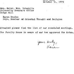 Correspondence, 1979-10-31....