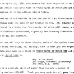 Announcements, 1969-04-10. ...