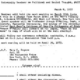 Announcements, 1972-03-08. ...