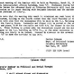 Announcements, 1979-03-05. ...