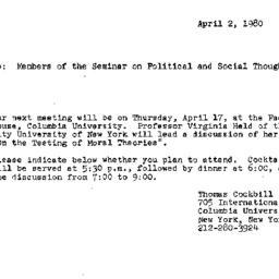 Announcements, 1980-04-02. ...