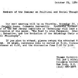 Announcements, 1980-10-29. ...