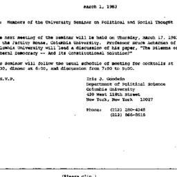 Announcements, 1983-03-01. ...