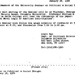 Announcements, 1984-01-26. ...