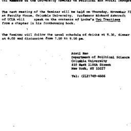 Announcements, 1985-10-30. ...
