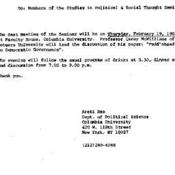 Announcements, 1987-01-30. ...