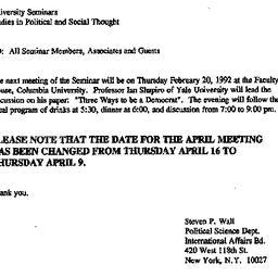 Announcements, 1992-02-20. ...