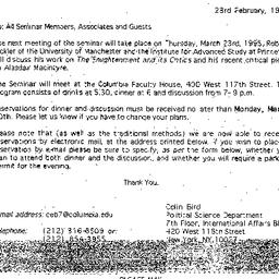Announcements, 1995-02-23. ...