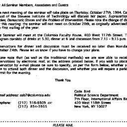 Announcements, 1994-09-25. ...