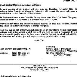 Announcements, 1995-10-19. ...