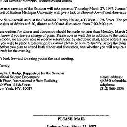 Announcements, 1997-03-10. ...