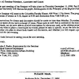 Announcements, 1996-11-01. ...